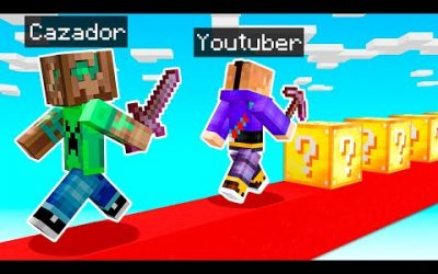 DESAFÍO YOUTUBER vs CAZADOR con LUCKY BLOCKS en MINECRAFT 😱💥